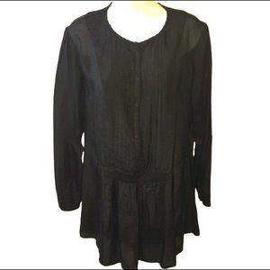 Witchery Tunic Black Silk Semi Sheer US Size 8